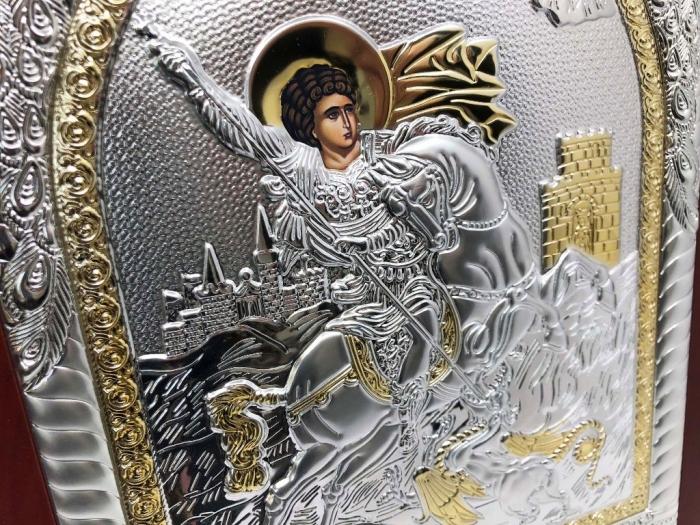 Icoana Sfantul Gheorghe placata cu Argint si Aur Galben 4