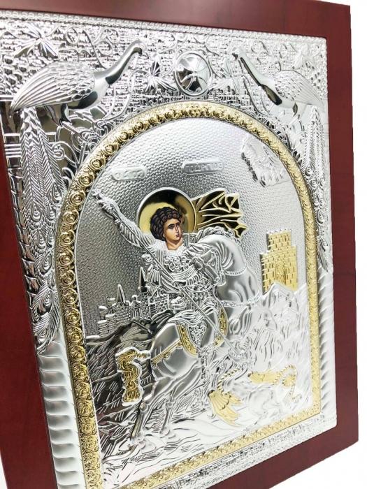 Icoana Sfantul Gheorghe placata cu Argint si Aur Galben 3