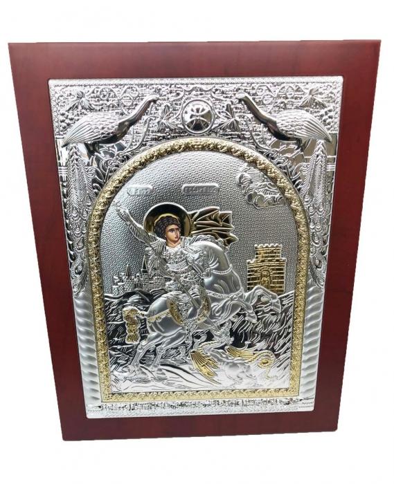 Icoana Sfantul Gheorghe placata cu Argint si Aur Galben 1