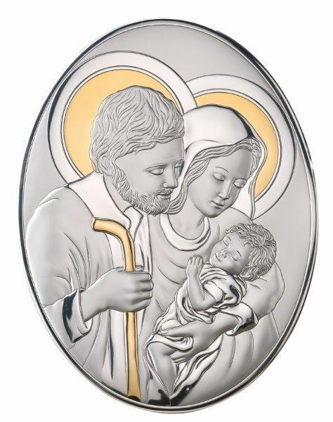 Icoană Sacred Holy Family by Valenti cu Argint si Aur - Made in Italy 0