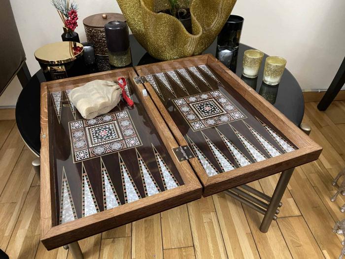 Joc de SAH si TABLE cu insertii de sidef, piese sah din metal AURII/ARGINTII sculptate manual, calitate premium 11
