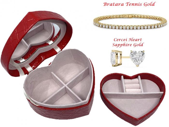 Perfect Lady Gift Set: Cutie Bijuterii Inima Rosie, Bratara Tennis Gold, Cercei Gold Heart [0]