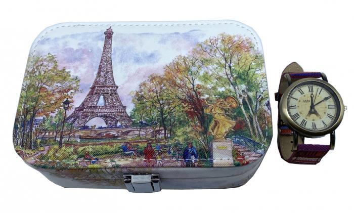 La Tour Eiffel Gift Set: Cutie Bijuterii + Ceas de mana 0