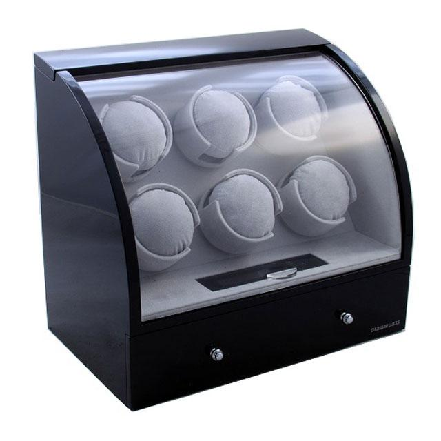 Watch Winder Basel 6 BLACK by Designhütte – Made in Germany- personalizabil-big
