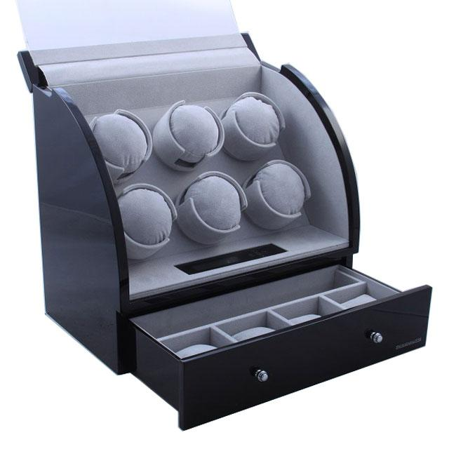 Watch Winder Basel 6 BLACK by Designhütte – Made in Germany- personalizabil 1