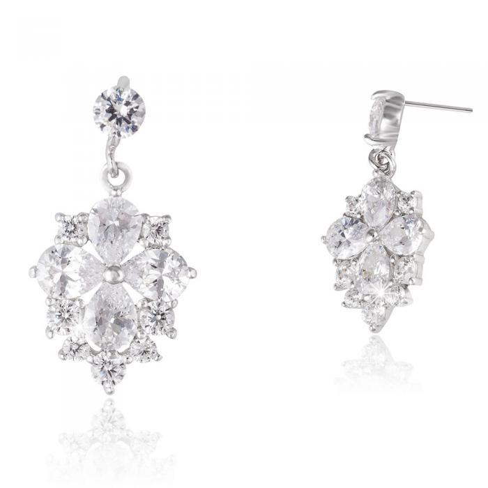 Cercei Borealy Argint 925 Crystal Clover Flower 1