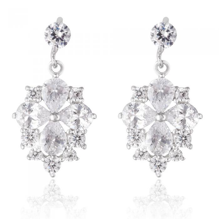 Cercei Borealy Argint 925 Crystal Clover Flower 0