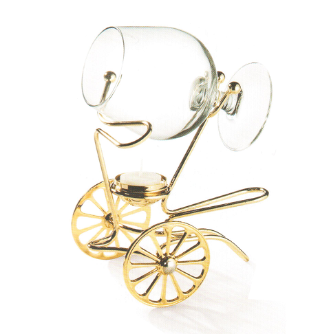 Încălzitor de cognac Chinelli Wheels placat cu aur - Made in Italy-big