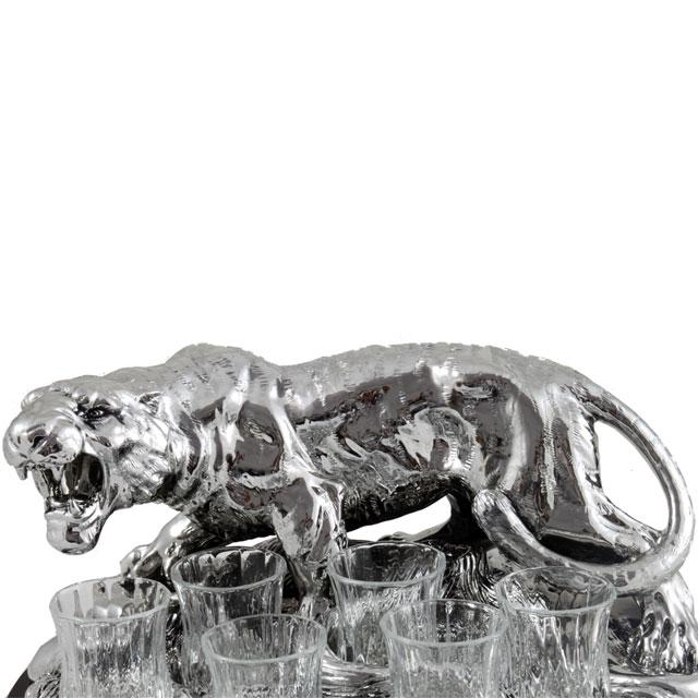 Indian Tiger Vodka Set Silver Plated by Chinelli - made in Italy 4