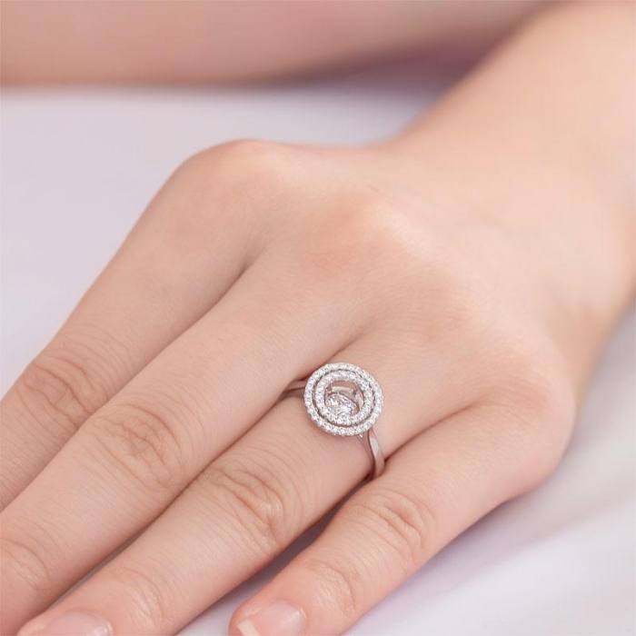 Inel Borealy Argint 925 Dancing Stone Double Halo, Masura 5-big