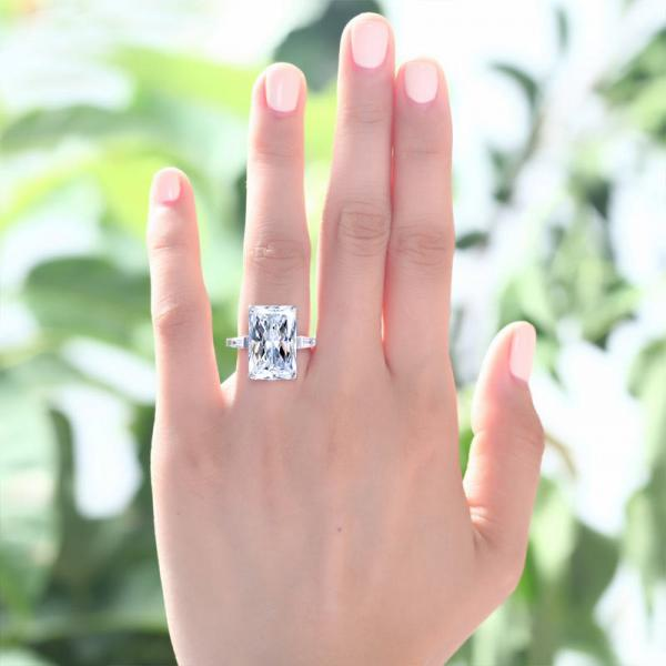 Inel Borealy Argint 925 Simulated Diamond 8.5 Carat Emerald Cut Luxe Marimea 6 1