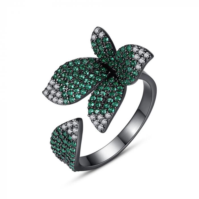 Inel Leaf Black Luxury 1