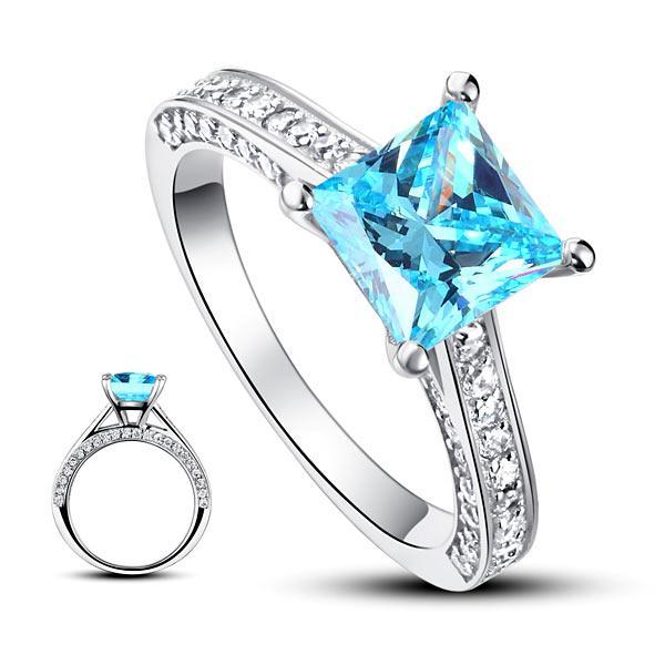 Inel Borealy Argint 925 Simulated Diamond 1.5 Carat Princess Cut Fancy Blue Mărimea 5 3