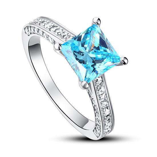 Inel Borealy Argint 925 Simulated Diamond 1.5 Carat Princess Cut Fancy Blue Mărimea 5 0