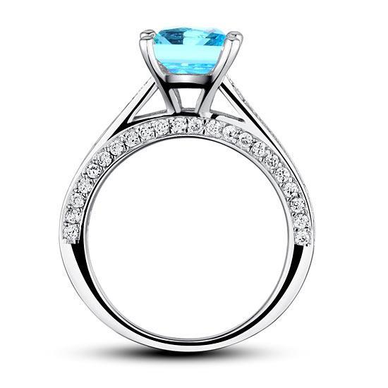 Inel Borealy Argint 925 Simulated Diamond 1.5 Carat Princess Cut Fancy Blue Mărimea 5 5