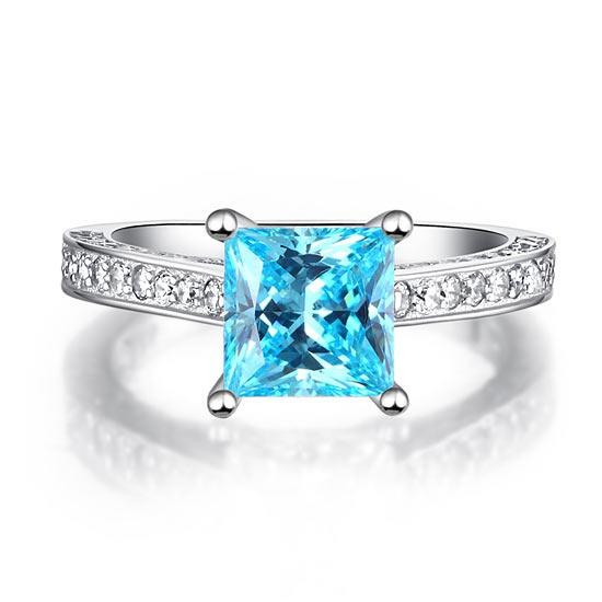 Inel Borealy Argint 925 Simulated Diamond 1.5 Carat Princess Cut Fancy Blue Mărimea 5 4
