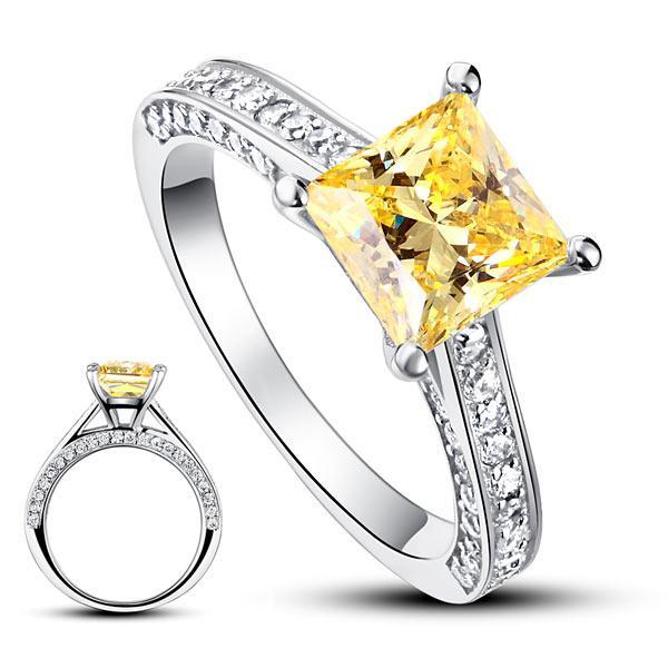 Inel Borealy Argint 925 Simulated Diamond 1.5 Carat Princess Cut Yellow Canary Mărimea 6 5