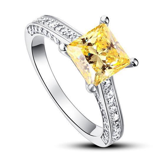 Inel Borealy Argint 925 Simulated Diamond 1.5 Carat Princess Cut Yellow Canary Mărimea 6 0