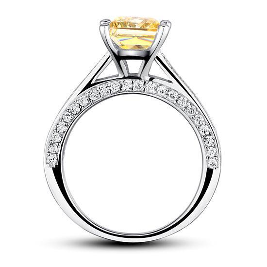 Inel 1.5 Carat Princess Cut Yellow Canary Simulated Diamond 925 Sterling Silver - Mărimea 6,5 4
