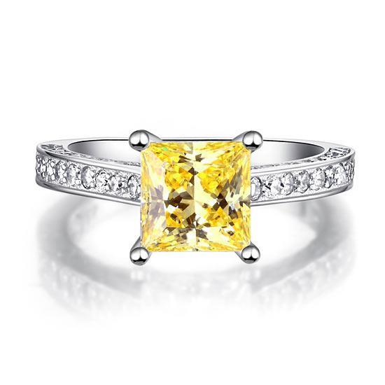 Inel Borealy Argint 925 Simulated Diamond 1.5 Carat Princess Cut Yellow Canary Mărimea 6 4
