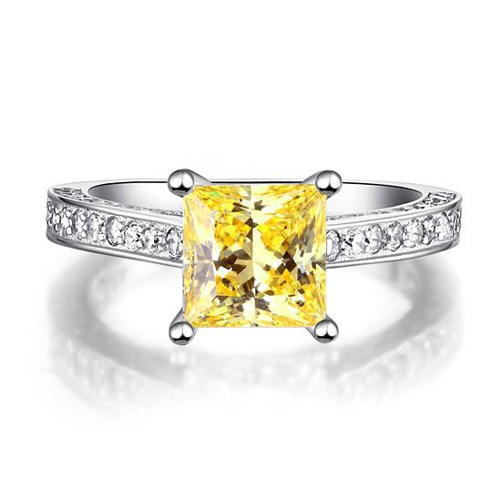 Inel 1.5 Carat Princess Cut Yellow Canary Simulated Diamond 925 Sterling Silver - Mărimea 6,5 1