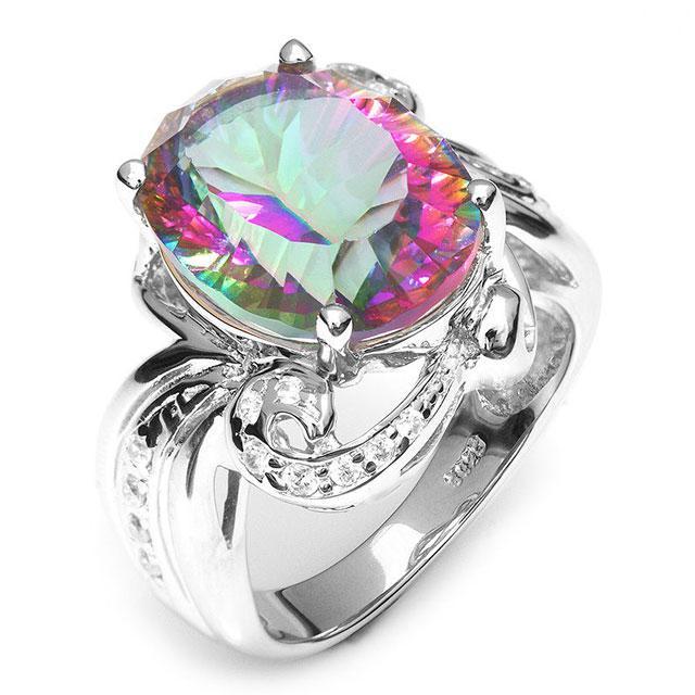 Inel Amazing Fire Rainbow Topaz Mistic 8 carate Argint 925 marimea 7 6