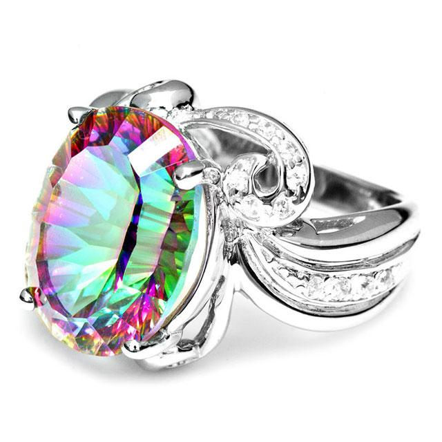 Inel Amazing Fire Rainbow Topaz Mistic 8 carate Argint 925 marimea 7 3