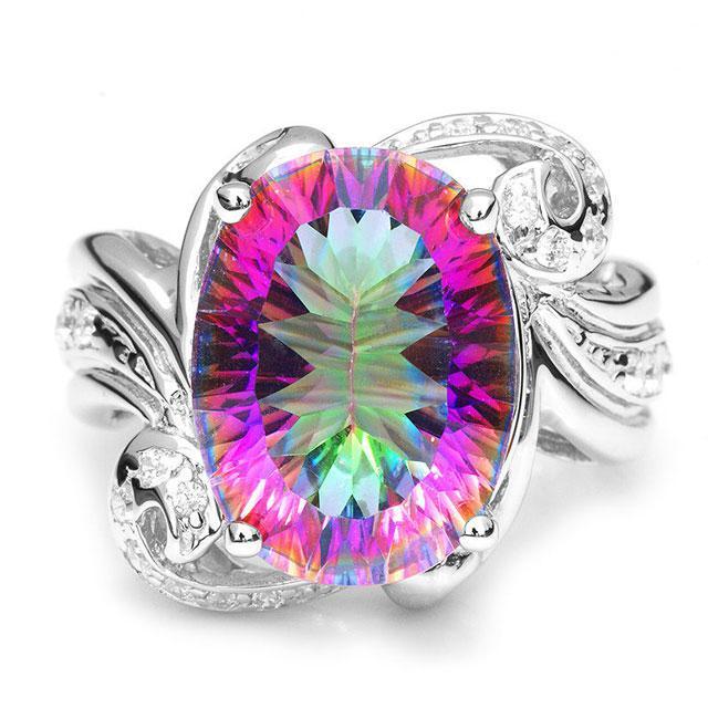 Inel Amazing Fire Rainbow Topaz Mistic 8 carate Argint 925 marimea 7 0