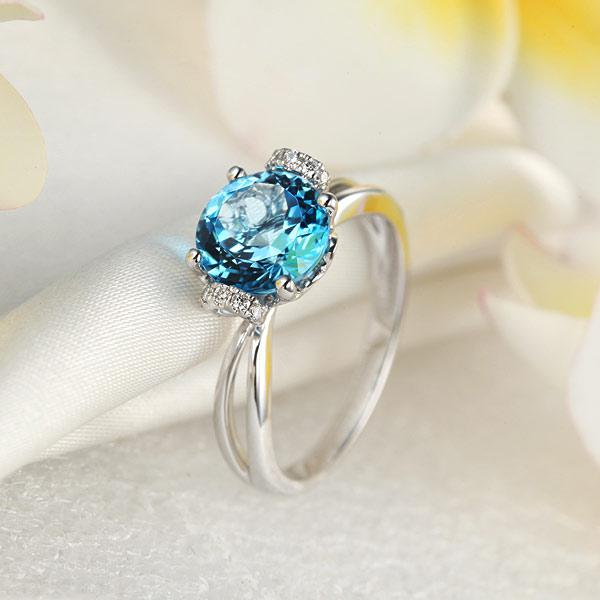 Inel Borealy Aur Alb 14 K 2 Ct Swiss Topaz Natural Blue Wedding Promise marimea 5,5 7