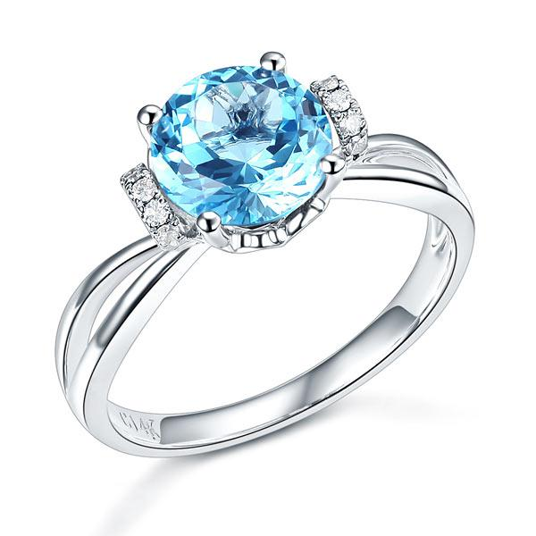 Inel Borealy Aur Alb 14 K 2 Ct Swiss Topaz Natural Blue Wedding Promise marimea 5,5 0