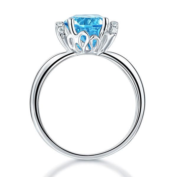 Inel Borealy Aur Alb 14 K 2 Ct Swiss Topaz Natural Blue Wedding Promise marimea 5,5 4