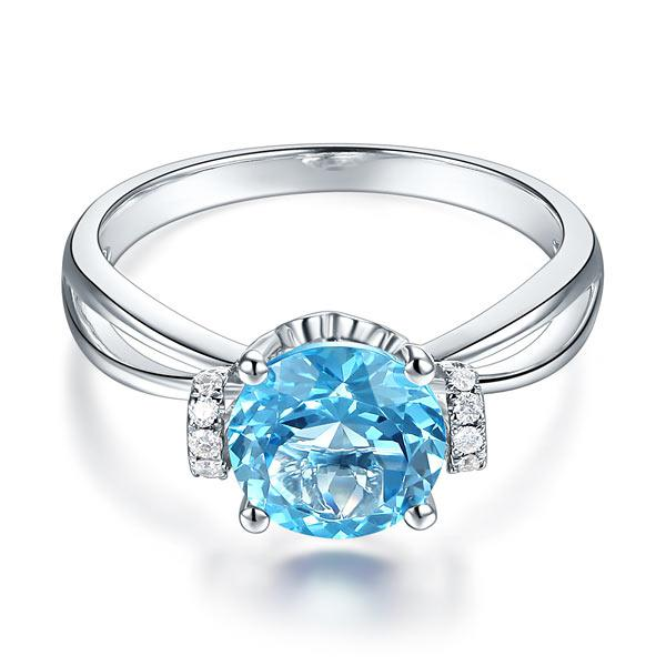 Inel Borealy Aur Alb 14 K 2 Ct Swiss Topaz Natural Blue Wedding Promise marimea 5,5 1