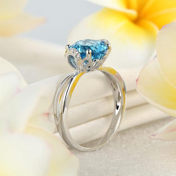 Inel Borealy Aur Alb 14 K 2 Ct Swiss Topaz Natural Blue Wedding Promise marimea 5,5 5