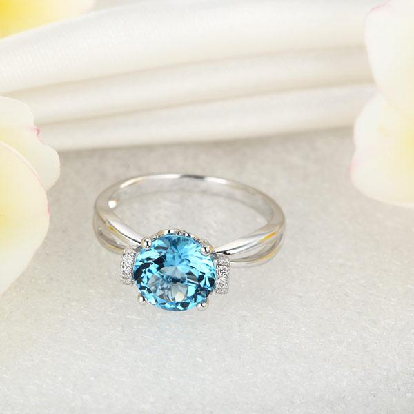 Inel Borealy Aur Alb 14 K 2 Ct Swiss Topaz Natural Blue Wedding Promise marimea 5,5 6