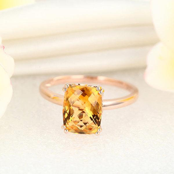 Inel Borealy Aur Roz 18 K Yellow Citrin Natural Wedding Engagement-big