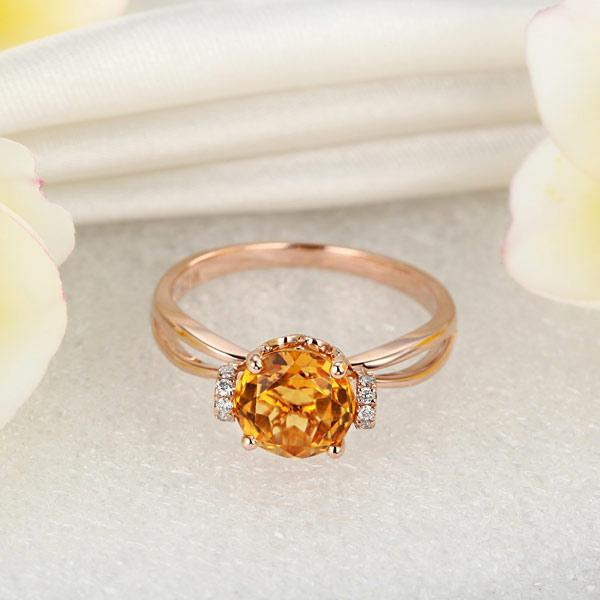 Inel Borealy Aur Roz 18 K 1,8 Ct Citrin Natural Gold Yellow Wedding Promise-big