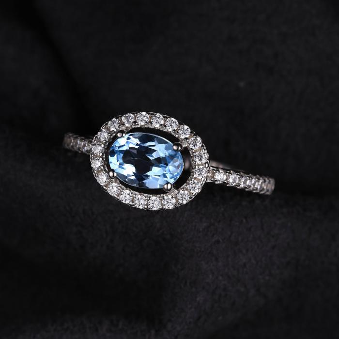 Inel Blue Ciel Natural Blue Topaz marimea 7 3