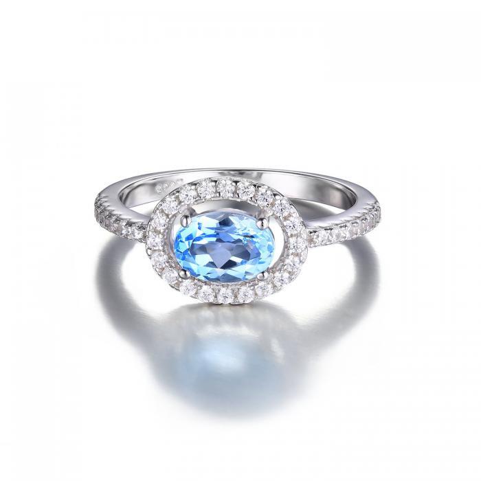 Inel Blue Ciel Natural Blue Topaz marimea 6 2