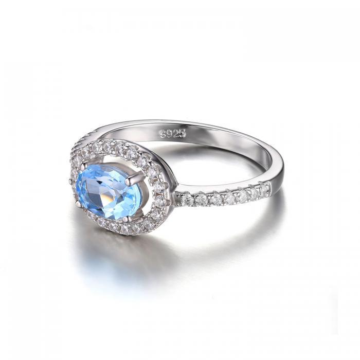 Inel Blue Ciel Natural Blue Topaz marimea 6 4