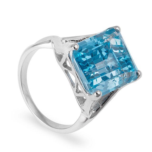 Inel Borealy Argint 925 Blue Topaz Natural Octagon Marimea 6 0