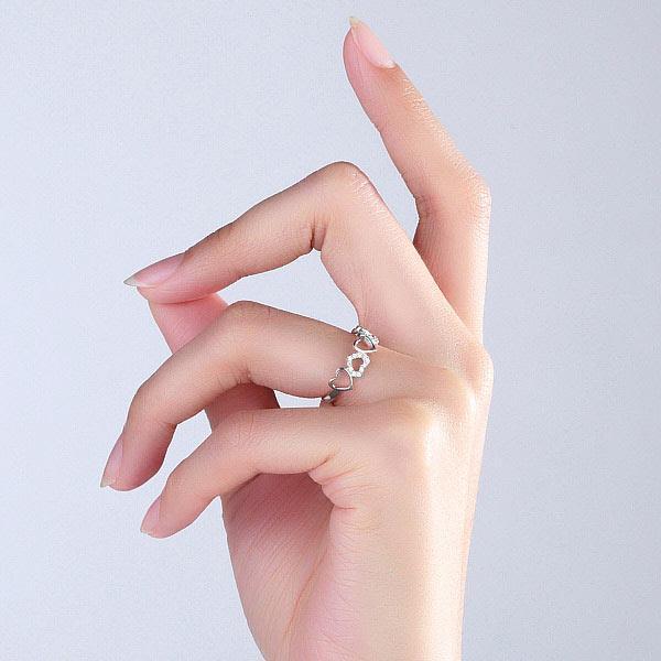 Inel Borealy Aur Alb 14 K Natural Diamonds Hearts Drawn-big