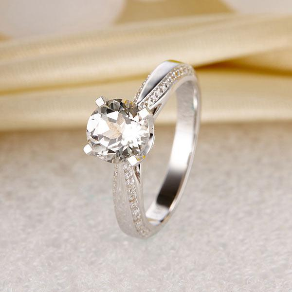 Inel Borealy Aur Alb 14 K Topaz 1,5 Ct Wedding Engagement Ring-big