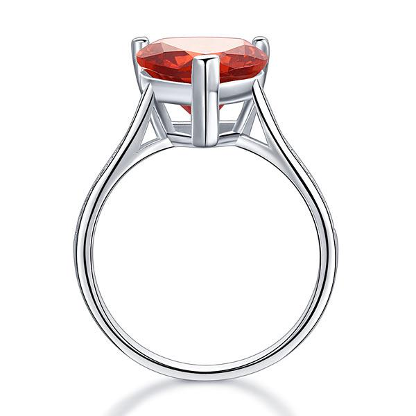 Inel Borealy Argint 925 Ruby 3.5 Carat Bridal Engagement Heart Red Marimea 5 3