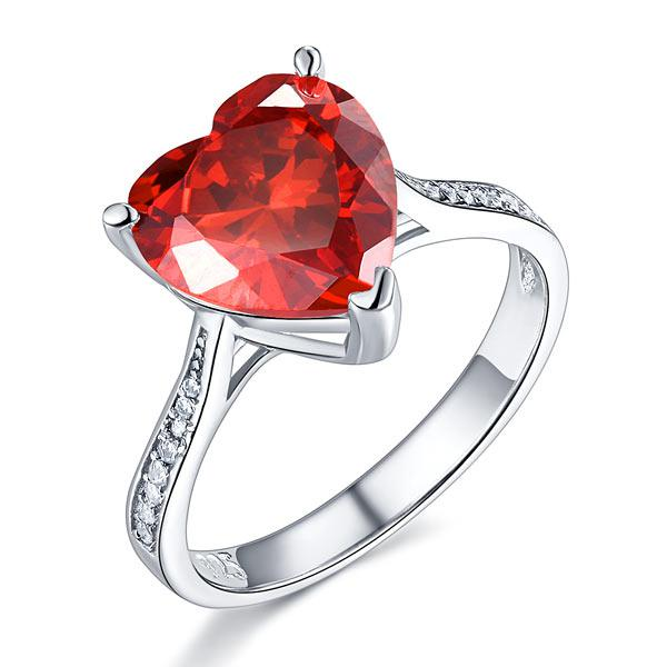 Inel Borealy Argint 925 Ruby 3.5 Carat Heart Red Bridal Engagement Marimea 7 0