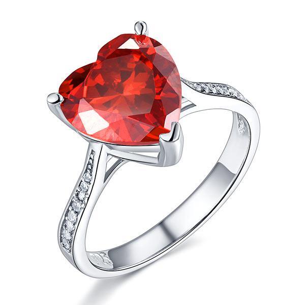 Inel Borealy Argint 925 Ruby 3.5 Carat Heart Red Bridal Engagement Marimea 5 0