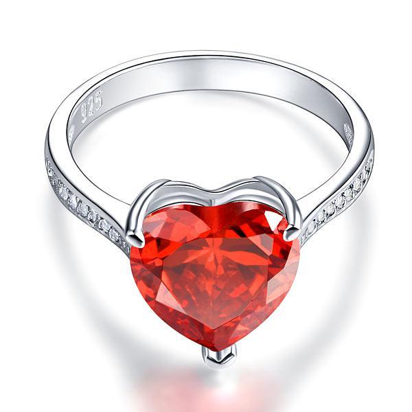 Inel Borealy Argint 925 Ruby 3.5 Carat Heart Red Bridal Engagement Marimea 5 1