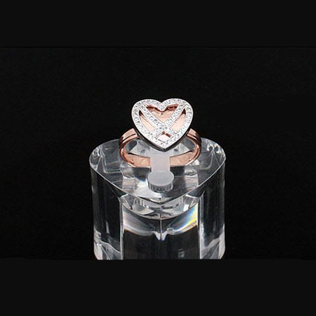 Diamond Heart White & Pink Inel Marimea 6-big