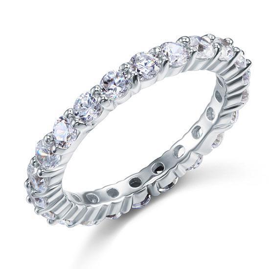 Inel Borealy Argint 925 Eternity Round Cut Mărimea 6-big