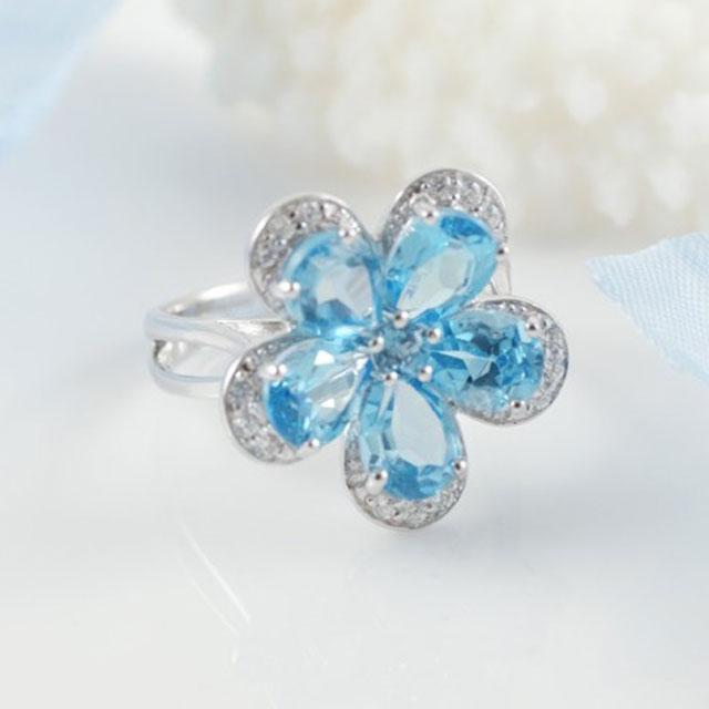 Inel Flower Blue Topaz Natural Borealy Marimea 6-big