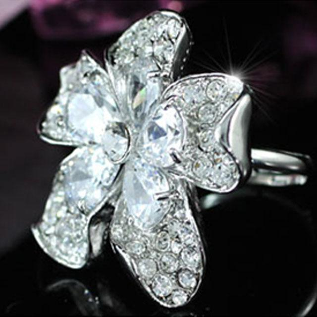 Inel Borealy Crystal Pear Cut 12 carate Queen Flower 6